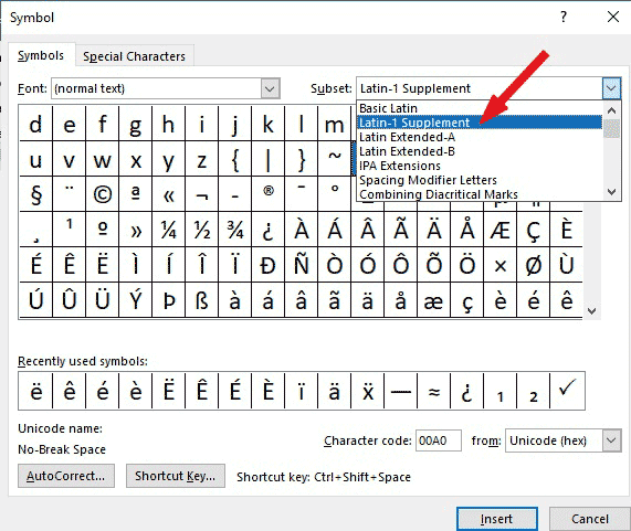 Latin-1 Suppliment Symbols