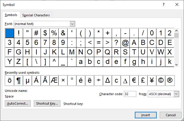 The Symbol's dialog boxs