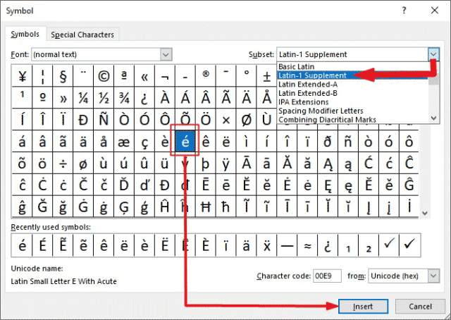 insert e acute in Excel