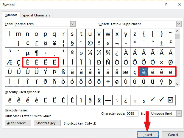 Inserting e with accent marks in Word