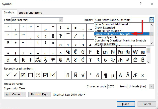 Select superscript ans subscript from the Subset drop-down list