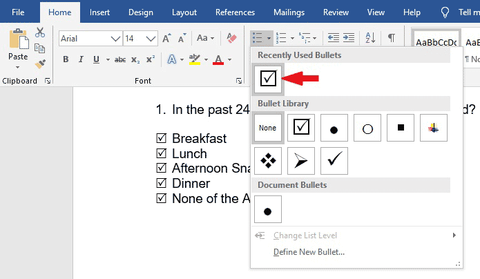 Select the check mark symbol as bullet point