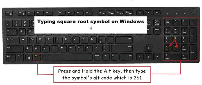 type square root symbol