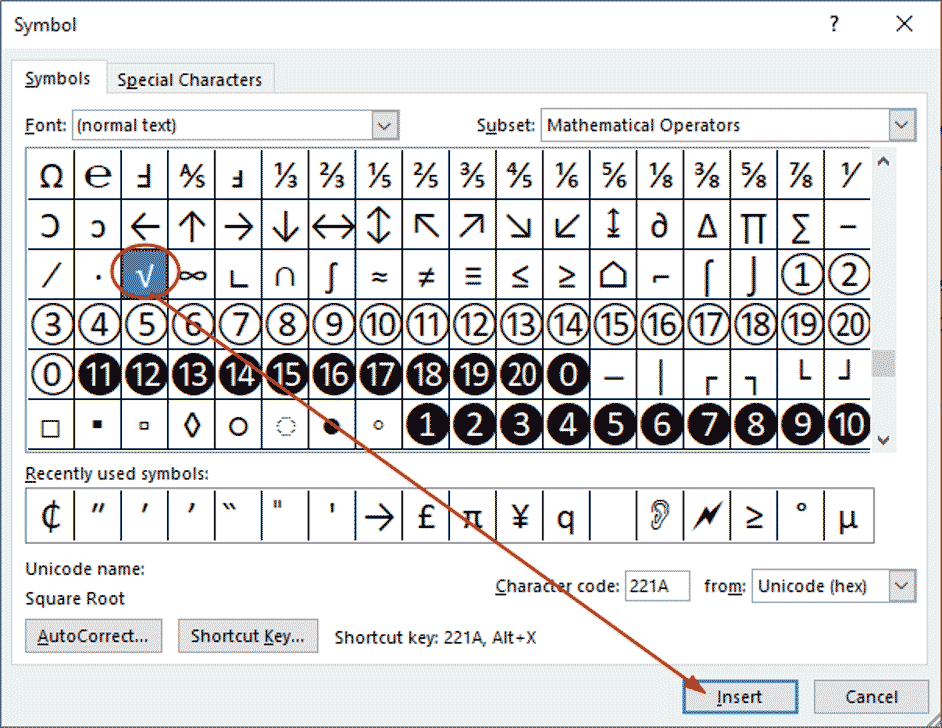 how insert square root symbol in Word