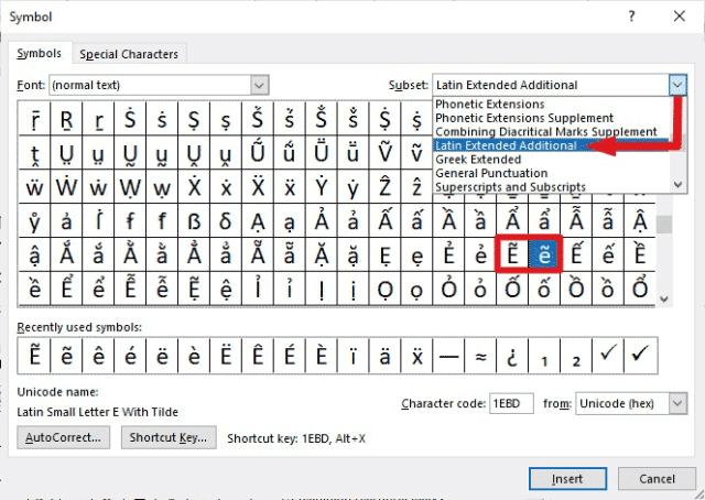 insert e with tilde in Word