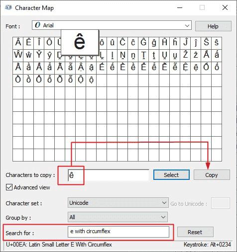 copy and paste e circumflex symbol on Windows