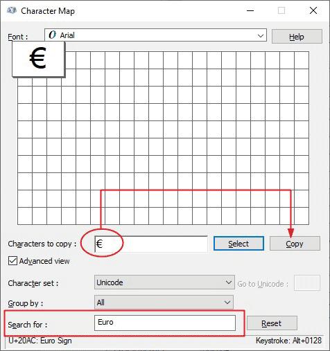 copy and paste euro symbol