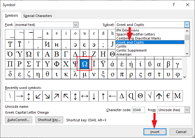 Insert Omega in MS Word/Excel