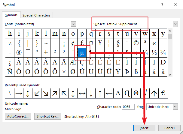 insert Micro symbol in Word or Excel