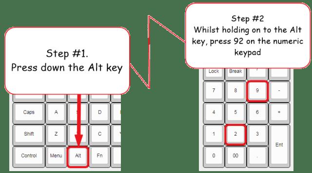 Backslash alt code