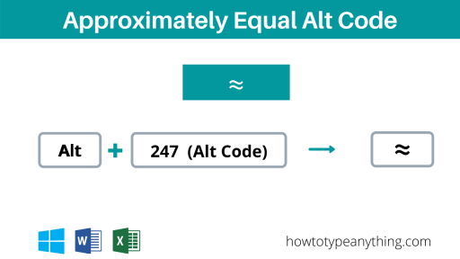 alt code for Approximately Equal to symbol