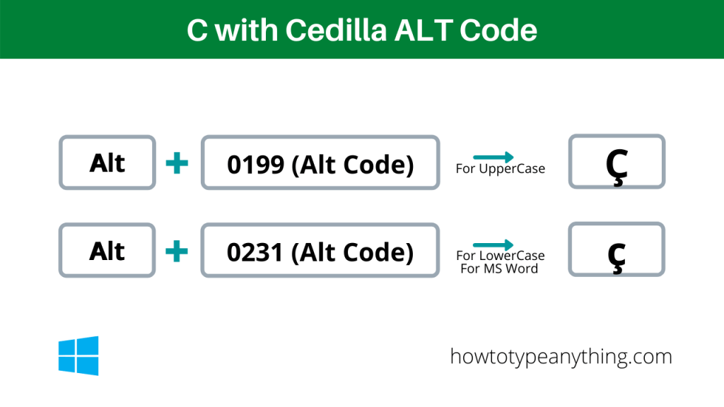 c with cedilla alt code