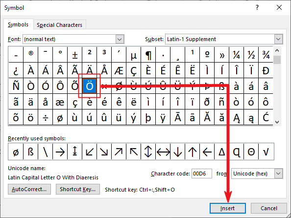 insert o with two dots in Word or Excel or PowerPoint