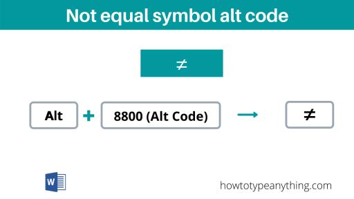 not equal symbol alt code
