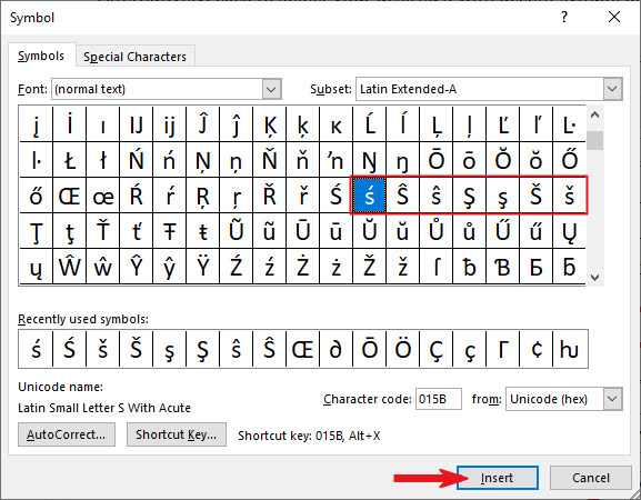 Inserting Letter S with Accent in Word