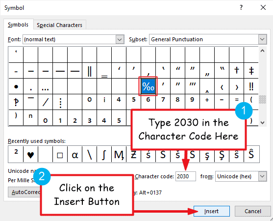 insert per mille in Word or Excel