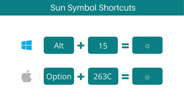 sun symbol keyboard shortcuts