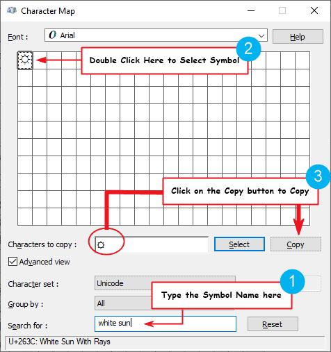 copy and paste the sun symbol