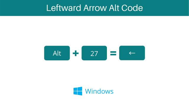 Left poining arrow symbol shortcut