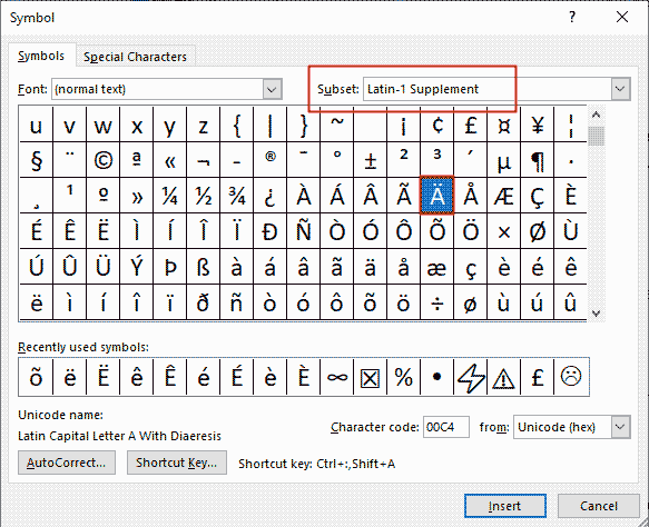 how to insert a with dots above (a umlaut)