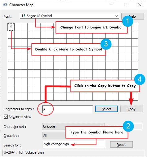 copy and paste lightning bolt symbol on Windows PC