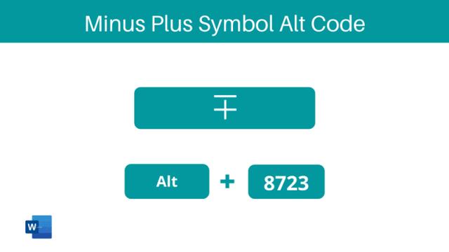Minus Plus Symbol Alt Code