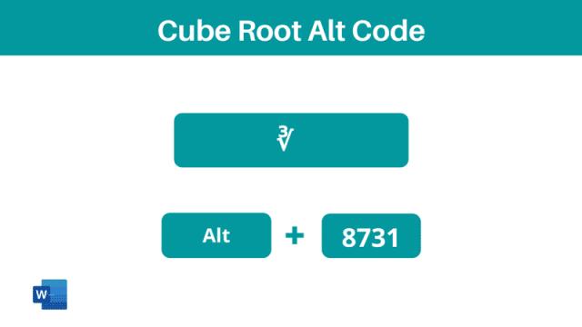 cubed root symbol alt code shortcut in Word