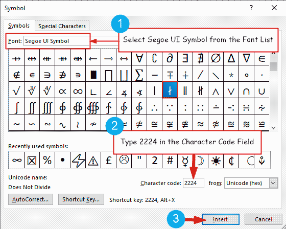 Insert does not devide symbol in Word