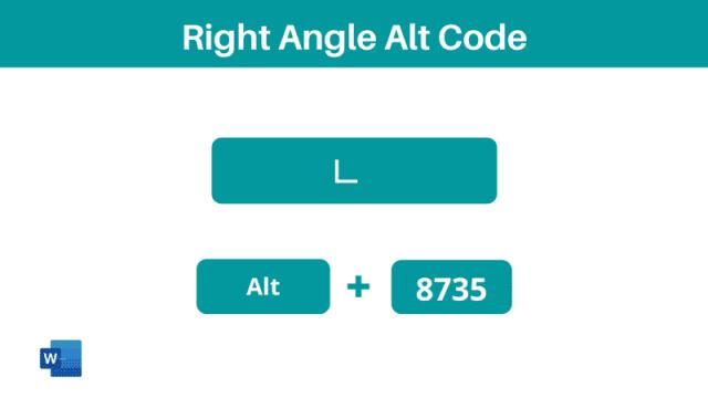 right angle symbol Alt code shortcut
