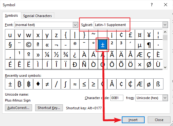 insert more or less symbol in Word