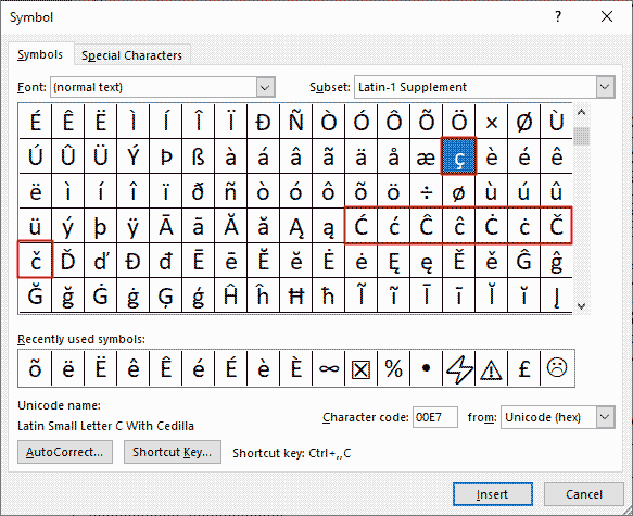 How to insert c with accent in Word