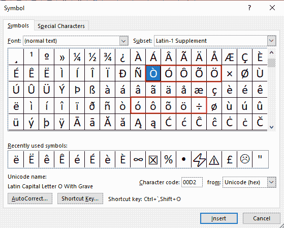 How to insert O with accent in Word/Excel/PowerPoint