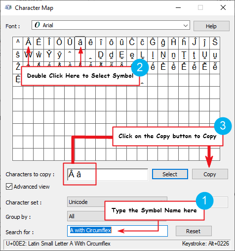 copy and paste letter a with crown or hat on top