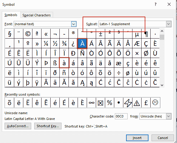 Inserting a with grave accent in Word