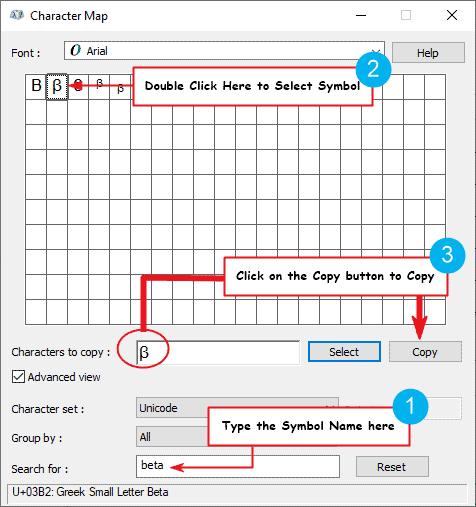 copy and paste beta symbol