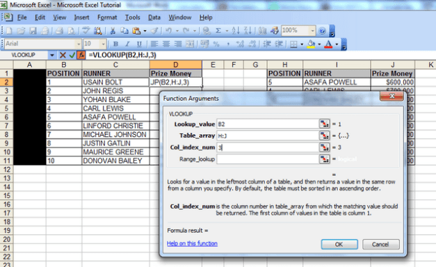 a screenshot showing the function arguments window the lookup value with cell b2