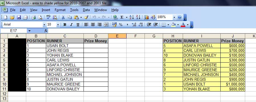 Two tables. Column B has the position of various runners. Column C has their