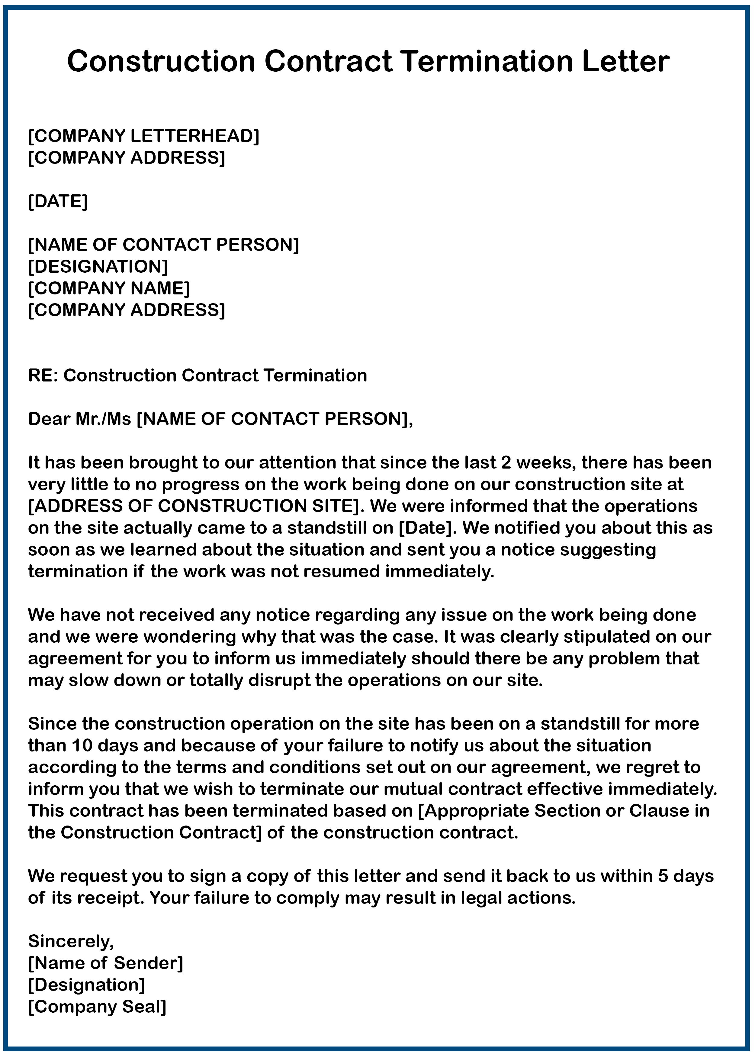 7 Business Contract Termination Letter Samples