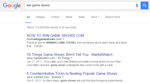 How to win game shows Google search result