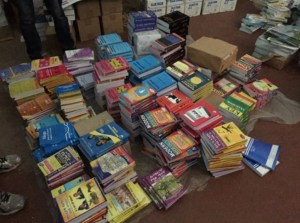 Piles of books ready to be delivered