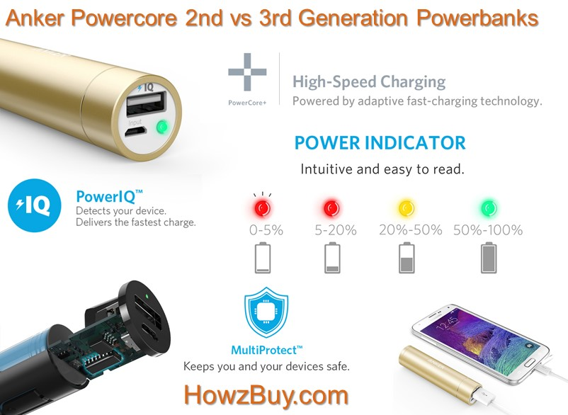 Anker Powercore 2nd vs 3rd Generation Powerbank Compare