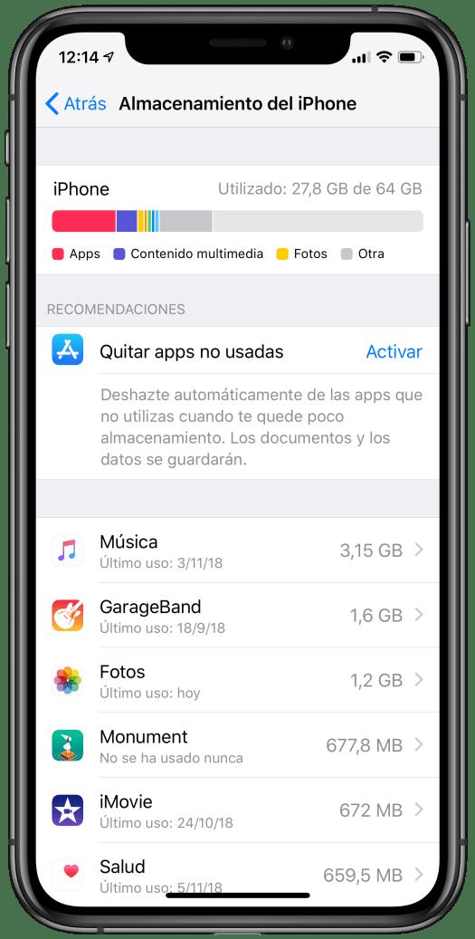 Información del almacenamiento en un iPhone