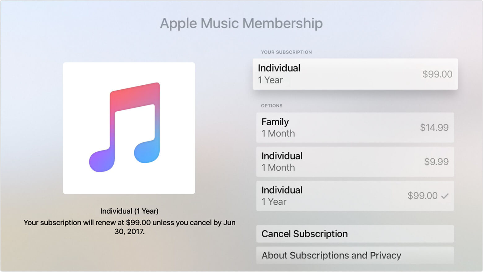 Apple Music Sucripción