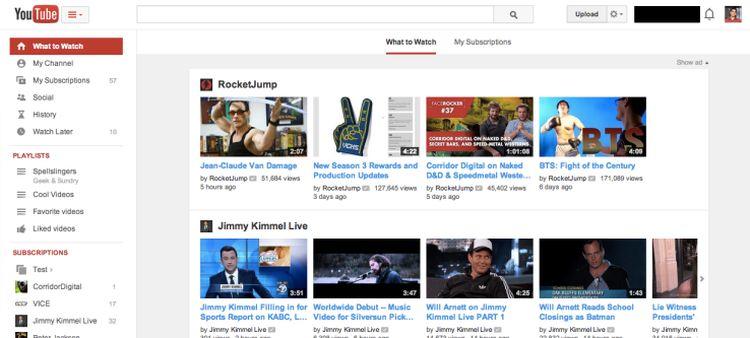 youtube redesign deseno