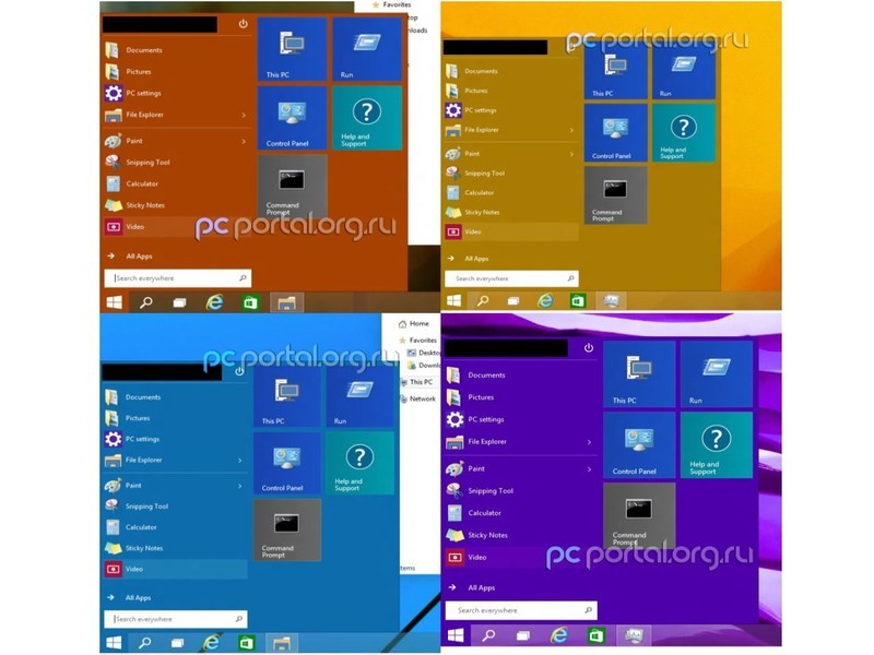 Windows 9 boton colores Inicio