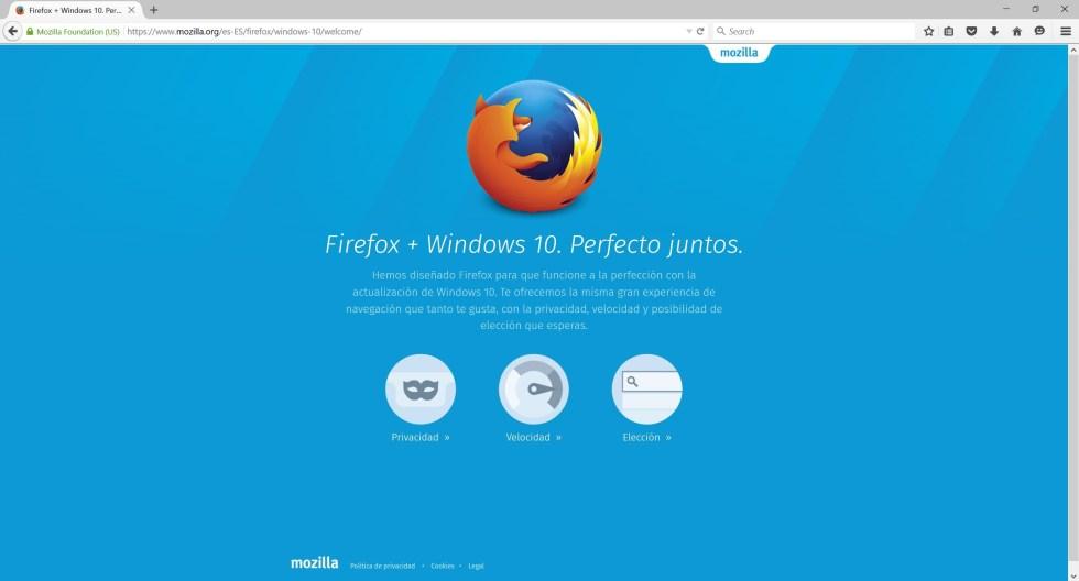 Mozilla lanzó una nueva versión de su navegador Firefox para Windows 10. Imagen: Mozilla