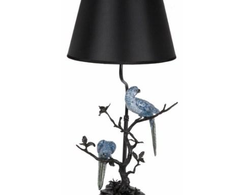 Tischlampe – Blaue Papageien
