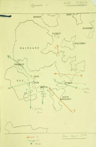 Air Raid Map 2.02.1940. Extract from National Archives, ref. WO 166/1234