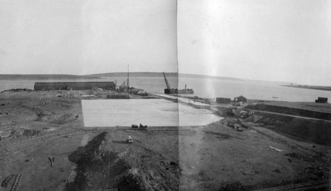 Construction of the boom slab at Lyness 1937-38 © Orkney Library & Archive, ref. D1-1096