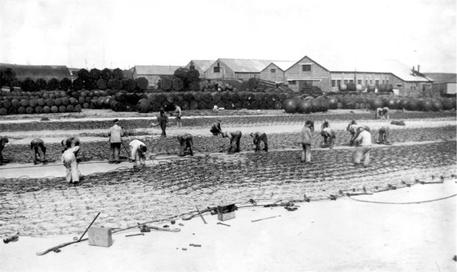 The Boom Slab - repairing the nets © The National Archives, ref. ADM116/5790